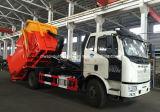 FAW 4X2 15 toneladas de brazo de gancho de leva caen el carro con el equipo de la compresa de la basura