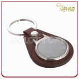 Fabrik-Zubehör-Leerzeichen-Leder-Schlüsselkette mit Ringen
