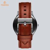 Reloj suizo del cuarzo de Miyota de la calidad de Wath de la muñeca del acero inoxidable de los hombres ocasionales con la correa de cuero 72791 de Brown