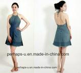 Одежд женщин фабрики платье джинсовой ткани изготовленный на заказ сексуальное Backless