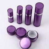 Bottiglia senz'aria della lozione del vaso crema acrilico viola di Set5 pp per l'imballaggio dell'estetica (PPC-CPS-029)