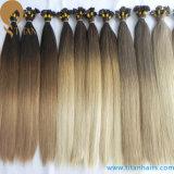 Prolonge de cheveux humains de kératine de Remy de Vierge de vente d'usine