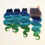 비 바디 파 3tone Remy 사람의 모발 Ombre 씨실 녹색 파란 머리