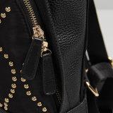 Черный Nylon кожаный Backpack школы заклепки (15A054)