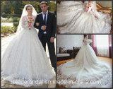 Vestido de casamento muçulmano 2017 G1877 das luvas longas luxuosas nupciais cheias dos vestidos de esfera do laço