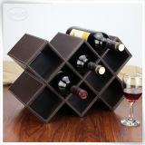 Rectángulo de cuero de lujo del vino de la visualización del almacenaje de la PU
