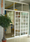 Алюминиевая конструкция решеток двери сползая стекла на покрынном порошке увеличения деревянном