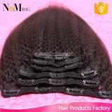 Capelli brasiliani di estensione dei capelli della clip della parte 100% dei capelli del Virgin (QB-CLI-KST)