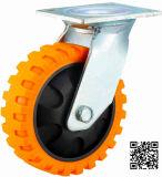 Echador resistente del eslabón giratorio de la PU de 4/5/6/8 pulgada con las venas del neumático