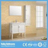 Тщета ванной комнаты твердой древесины высокой законцовки классицистическая с бортовым шкафом (BV139W)
