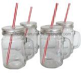 tazza di vetro 500ml con la maniglia ed il coperchio (paglia disponibile)
