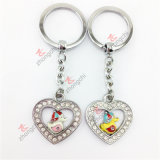 2015 Hot Selling Custom Metal Key Chain Crystal Love Heart Pendant Keychain