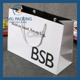 Bolso de papel de la manija de la impresión negra brillante alta (DM-GPBB-154)
