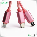 3 em 1 dados de nylon do USB de Brainded & cabo cobrando com logotipo do OEM (WY-CA24)