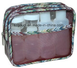 Transparentes PVC Travel Toiletry Cosmetic Beauty Bag mit Bottles u. Jars