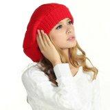 POM POM 100%のウールのかぎ針編みのベレー帽の帽子の帽子