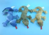 Juguete rojo No-Llenado del animal doméstico del dinosaurio de la felpa con traqueteo adentro