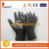 Вкладыш 13 датчиков черный Nylon. Перчатки PU черноты запястья руки Knit покрытые на ладони и персте (DPU117)
