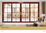 Puerta deslizante de aluminio del grano de madera del palacio de Medio Oriente con diseño de la parrilla