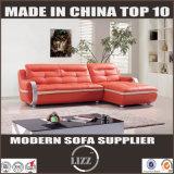 Sofá moderno de canto de perna de aço inoxidável