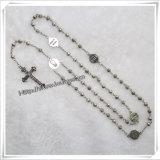 Rosario di legno del nodo della decorazione del ricordo dei branelli del rosario religioso cristiano del Jesus (IO-cr100)