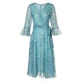 Modelo floral A - línea vestido de noche del collar de la funda V-Necked de la flama de la elegancia con la correa