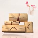 Rectángulo de regalo de madera colorido suave del conjunto del lazo de la bufanda de la manera para los regalos de la promoción