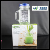 450ml Square Glass Mason Jar con Handle Glass Drinking Jar