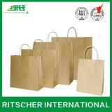 Réutiliser le sac amical de papier d'emballage d'achats de sac de papier d'Eco Brown