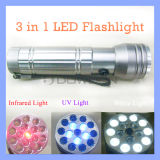 15 LED Infrared Laser Torch 3 in 1 Flashlight für Geocaching Stains