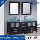 標準的な純木のガラス洗面器の床-取付けられた浴室の虚栄心のキャビネット