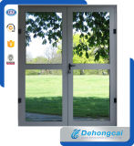 Portello di alluminio di stile europeo con il singolo vetro Tempered di 5mm