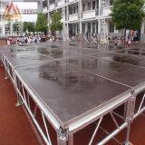 Estágio claro portátil de alumínio do fardo da plataforma do DJ da luz de alumínio móvel ao ar livre da madeira compensada do diodo emissor de luz