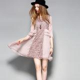 Ворота сетки втулки способа шкафут Falbala a половинного сексуальный флористический - линия розовое платье пляжа женщин