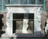 Высеканная рукой мраморный каминная доска камина (GS-AF-002)