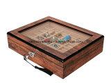 Boîte-cadeau de empaquetage d'étalage de fini de bijou en bois à haute brillance de boucle