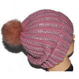 Chapéu do Beanie do inverno de lãs das mulheres POM POM com jóia