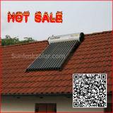 Aquecedor de água solar acoplado ao telhado fechado