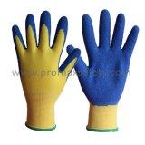 13Gポリエステルはさみ金の青い乳液のしわの終わりやしによって塗られる作業手袋