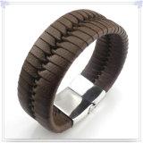De Armband van het Leer van de Juwelen van het Roestvrij staal van de Juwelen van het leer (LB559)