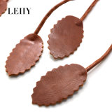Colar longa de couro da colar DIY do Choker dos pendentes da folha de Brown da dobra