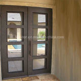 Portas usadas casa com ferro feito e vidro