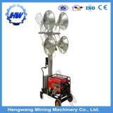 Torre de iluminación de haluro metálico móvil con el generador diesel refrigerados por agua