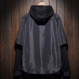 Pullover a due pezzi di nylon Hoodies del vestito da Hoodie del Mens nero