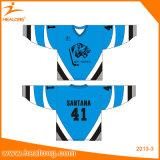 Kundenspezifisches Großhandelshockey-Jersey-europäisches Sublimation-Eis-Hockey Jersey mit Gerät-Twill-Stickerei