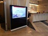 Publicidad del suelo de la visualización del LCD que coloca el quiosco de la pantalla táctil de 84 pulgadas