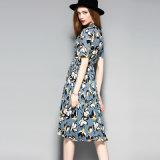 Платье партии женщин ворота флористической печати плиссированное Lace-up с Button-Down