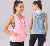 Qualität kundenspezifische Frauen Sleeveless Hoodies für Yoga