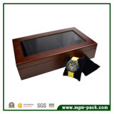 Rectángulo de reloj de madera de la calidad de la cubierta de lujo estupenda de la manera