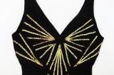 Glänzender Stutzen-Sleeveless Verband-Kleid der Sequins-V